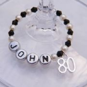 80th Birthday Personalised Wine Glass Charm - Full Bead Style
